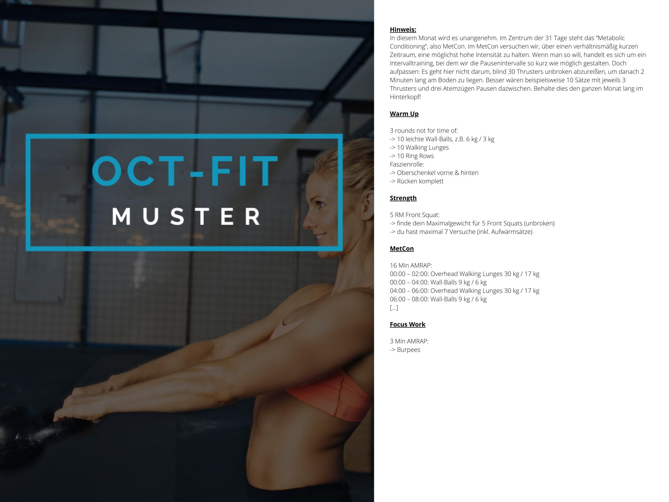 OCT-FIT Crosstraining Muster WOD 3