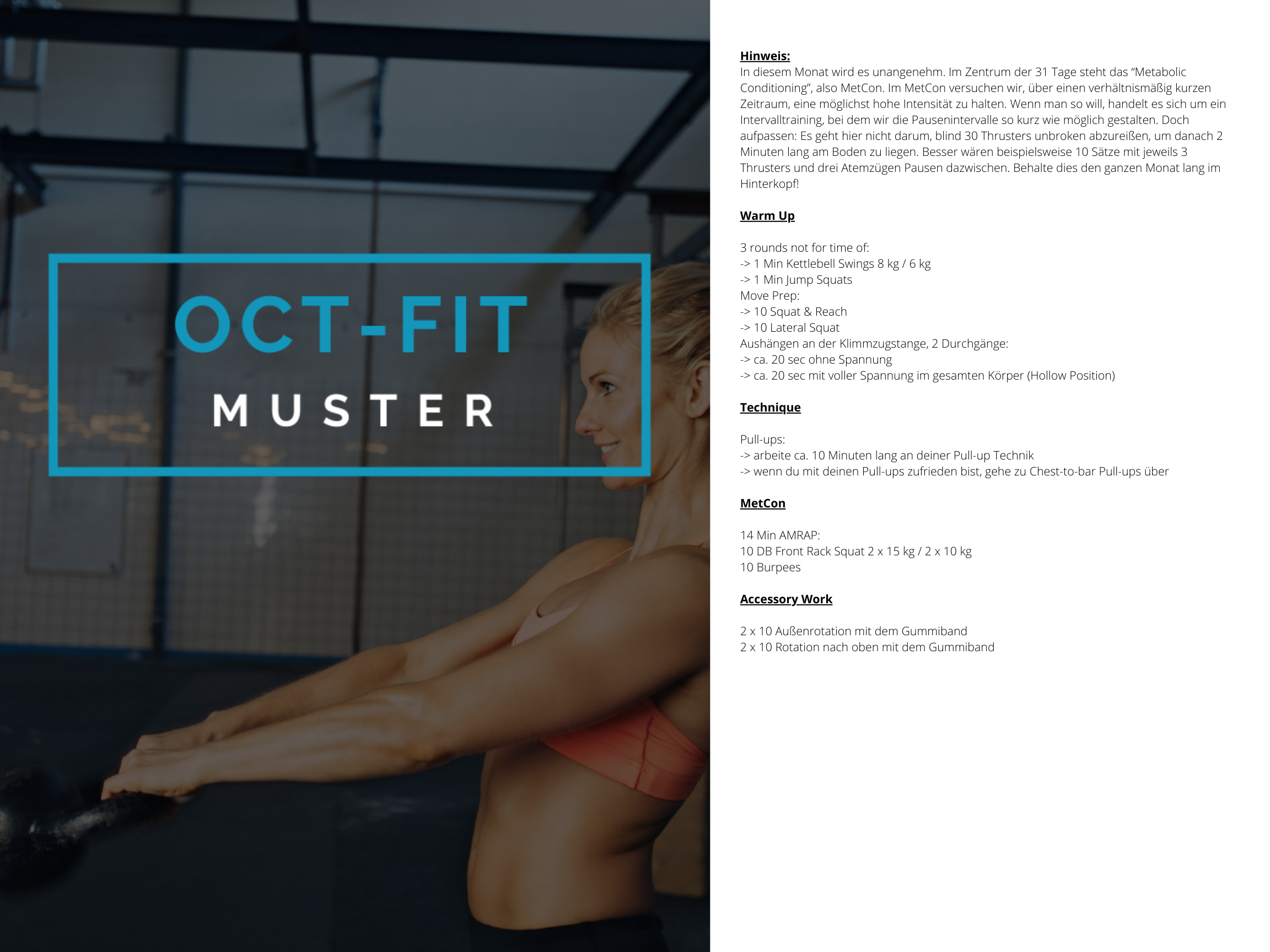 OCT-FIT Crosstraining Muster WOD 4