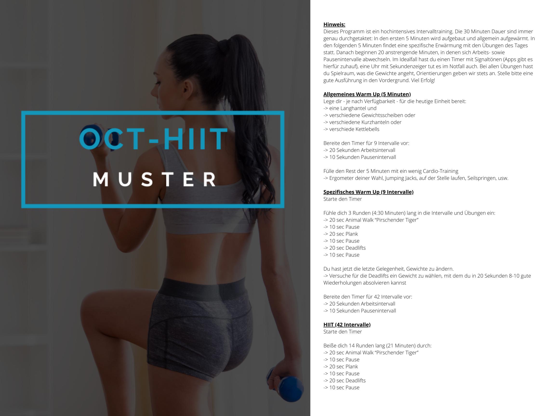 OCT-HIIT Muster Trainingsplan 2