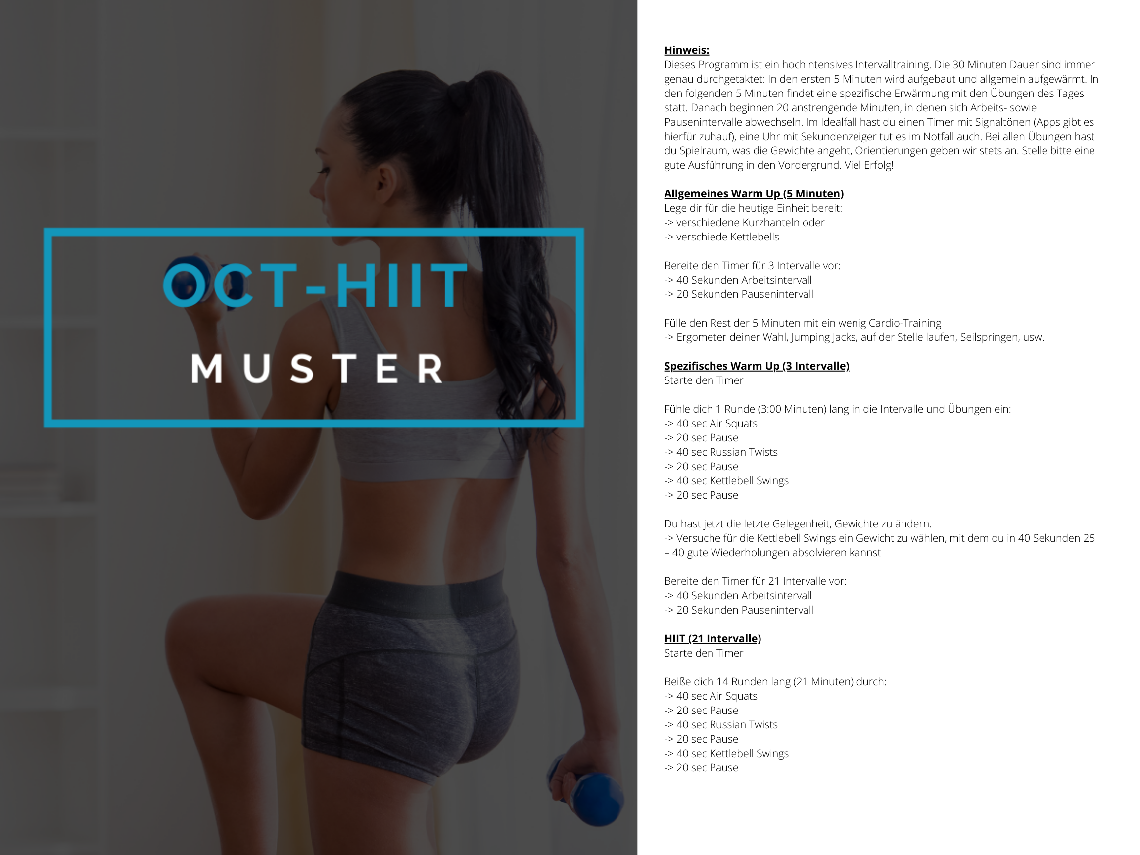 OCT-HIIT Muster Trainingsplan 3